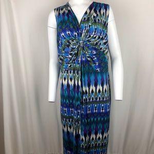 NY Collection Maxi Dress 3X Blue/Multi NWT